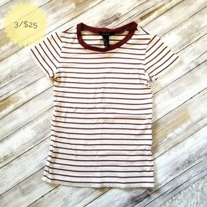 Forever 21 Ribbed Striped Short Sleeve Shirt